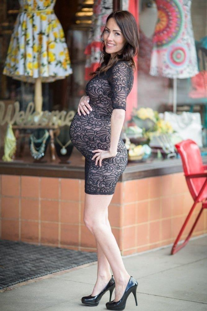 Black Lace Bodycon Maternity Dress