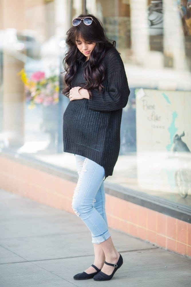 Hooded Maternity Sweater