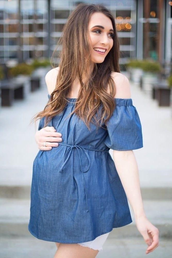 denim maternity top